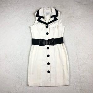Dresses & Skirts - VNTG B/W Button Collar Sleeveless with Belt Dress